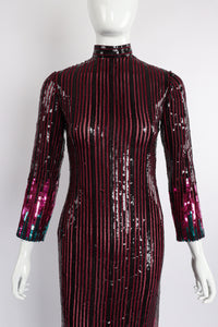 Vintage Ruben Panis Sheer Sequin Stripe Sheath Dress on Mannequin front crop at Recess Los Angeles