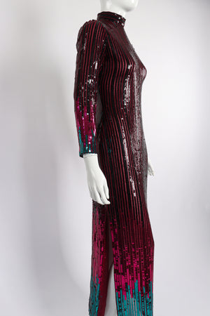 Vintage Ruben Panis Sheer Sequin Stripe Sheath Dress on Mannequin side at Recess Los Angeles