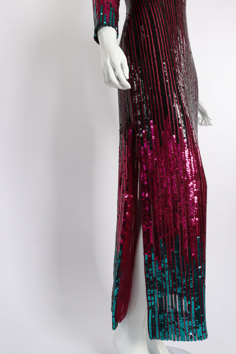 Vintage Ruben Panis Sheer Sequin Stripe Sheath Dress on Mannequin skirt side at Recess Los Angeles