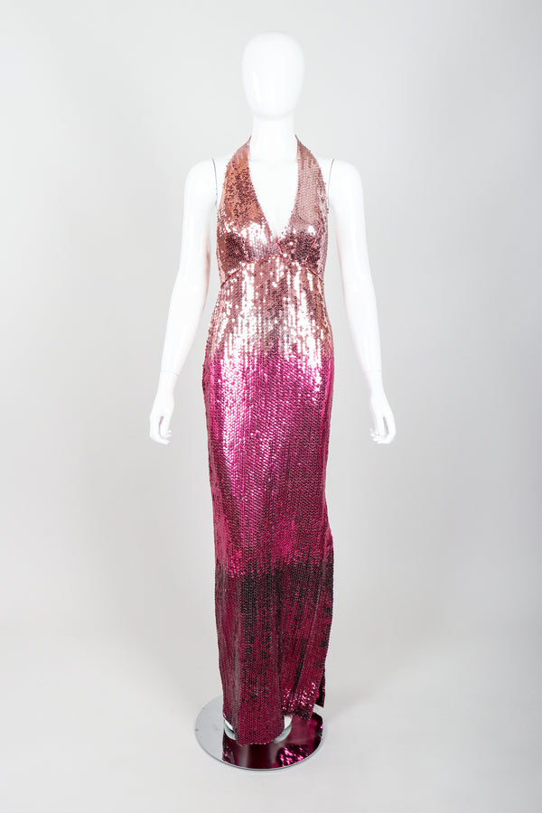 Vintage Ruben Panis Ombré Sequin Halter Gown on Mannequin Front at Recess Los Angeles