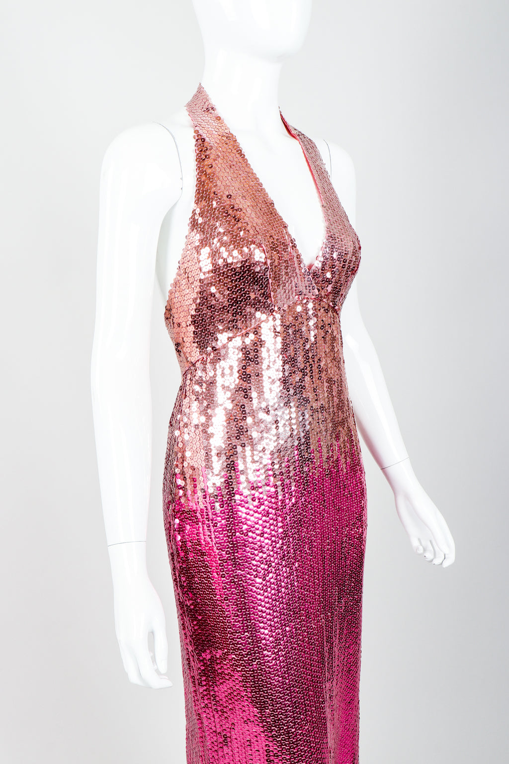 Vintage Ruben Panis Ombré Sequin Halter Gown on Mannequin Angle Crop at Recess Los Angeles