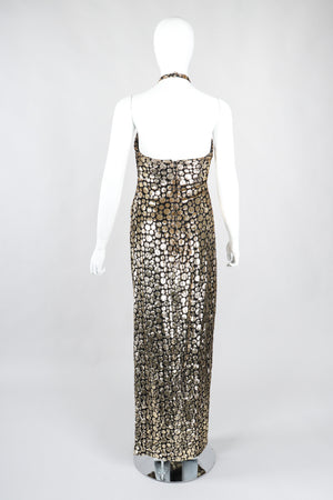Recess Los Angeles Vintage Ruben Panis Gold Bubble Velvet Lamé Halter Gown