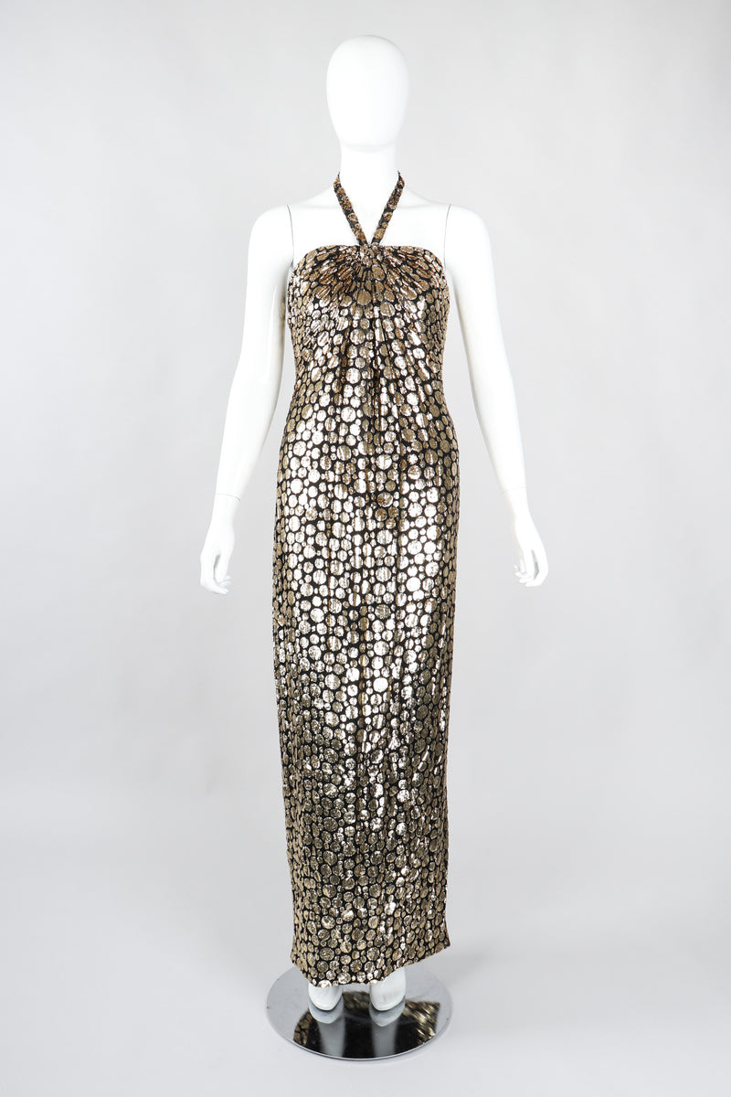 Recess Los Angeles Vintage Ruben Panis Gold Bubble Burnout Velvet Lamé Halter Gown