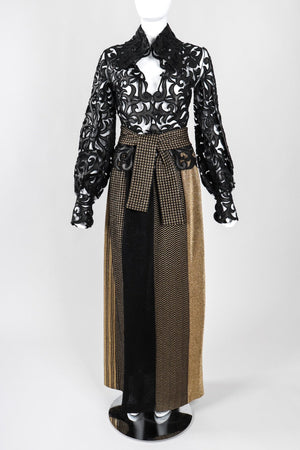 Recess Los Angeles Vintage Collectable Rudi Gernreich Gold Metallic Lamé Pieced Knit Maxi Skirt