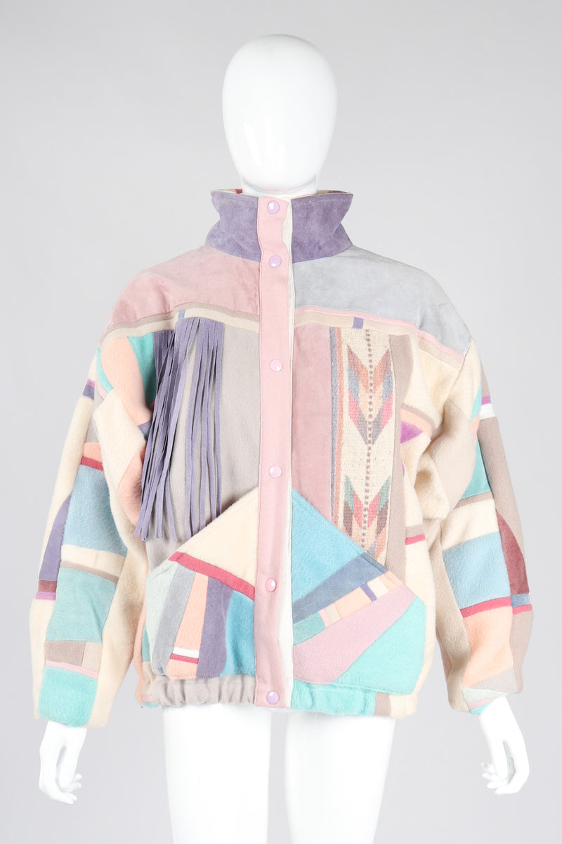Recess Los Angeles Vintage SFR Santa Fe ReCreations Suede Fleece Pastel Fringe Southwest Jacket