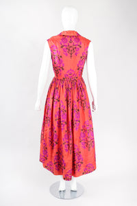 Recess Los Angeles Designer Consignment Vintage Sabina Indian Sleeveless Silk Shirtwaist Dress