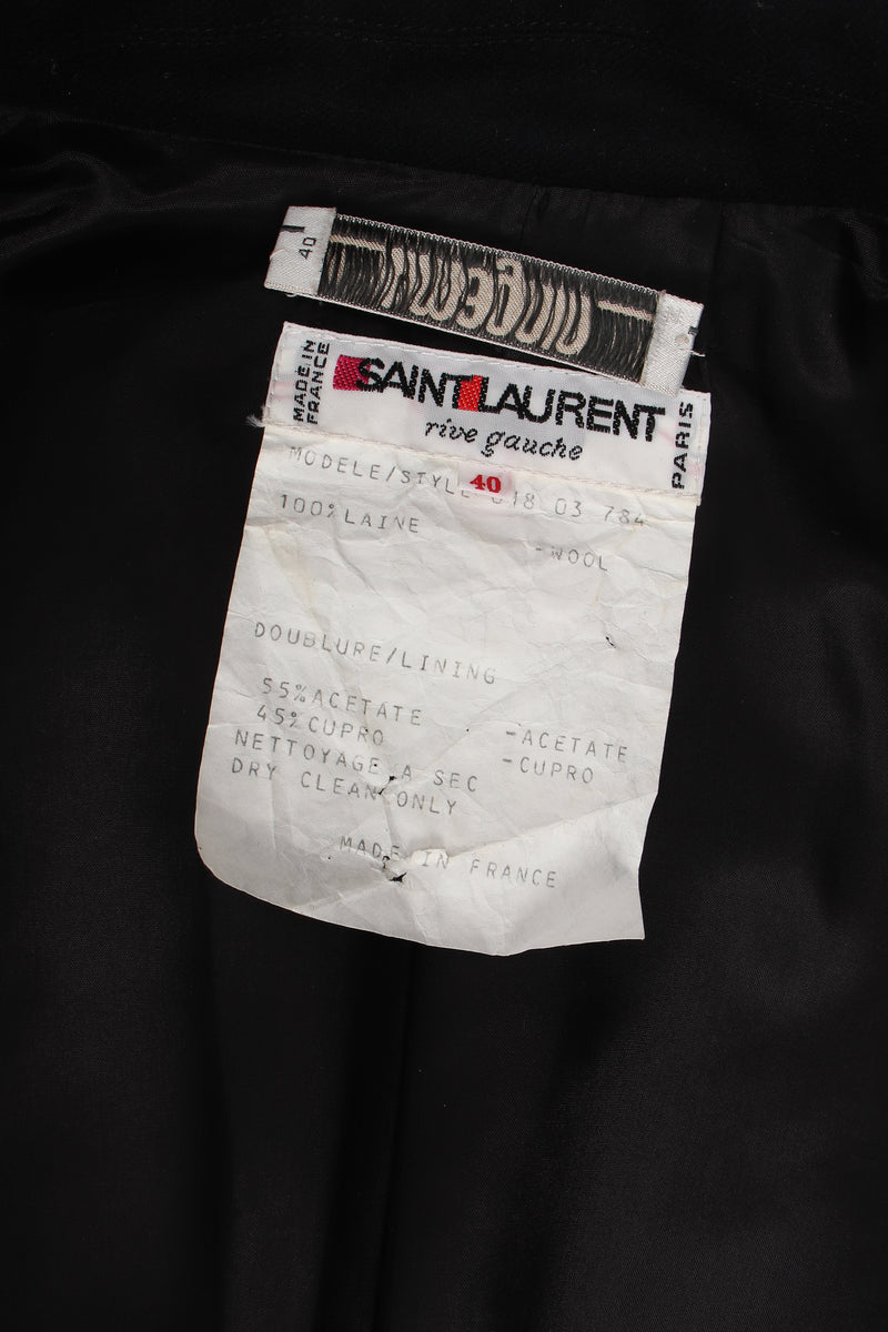 Vintage YSL Yves Saint Laurent Braided Yarn Tipped Blazer label at Recess Los Angeles