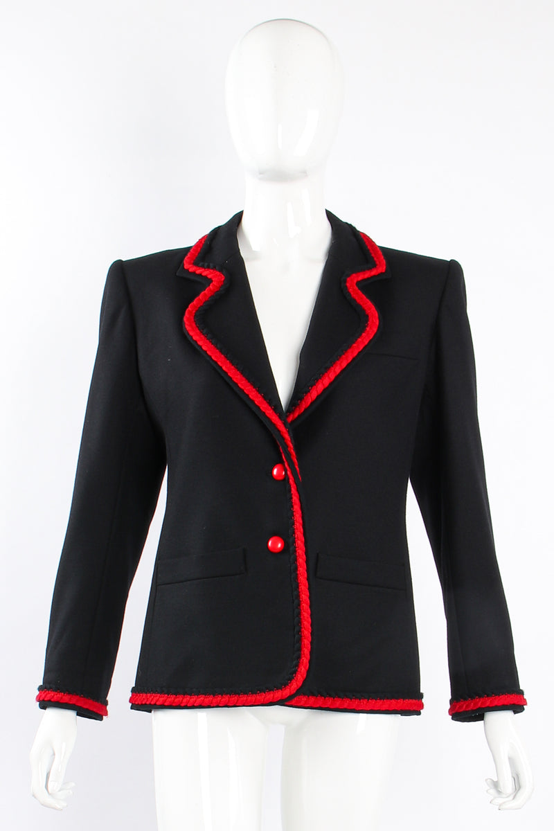 Vintage YSL Yves Saint Laurent Braided Yarn Tipped Blazer on Mannequin front at Recess Los Angeles