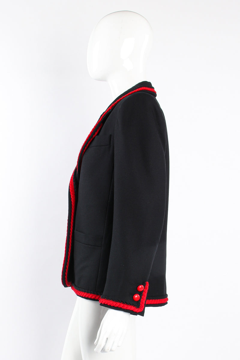 Vintage YSL Yves Saint Laurent Braided Yarn Tipped Blazer on Mannequin side at Recess Los Angeles