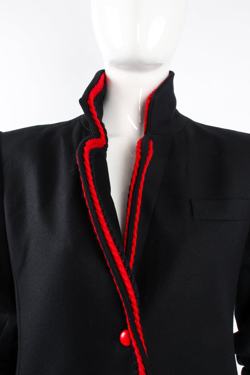Vintage YSL Yves Saint Laurent Braided Yarn Tipped Blazer on Mannequin collar at Recess Los Angeles