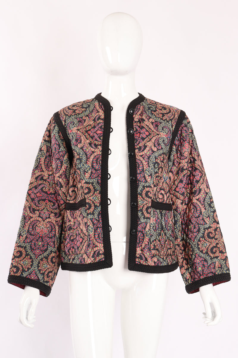 Vintage Yves Saint Laurent YSL Quilted Silk Flourish Jacket open on Mannequin crop at Recess
