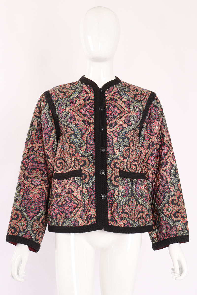 Vintage Yves Saint Laurent YSL Quilted Silk Flourish Jacket on Mannequin front at Recess LA