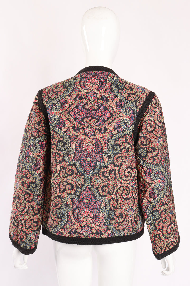 Vintage Yves Saint Laurent YSL Quilted Silk Flourish Jacket back on Mannequin at Recess LA