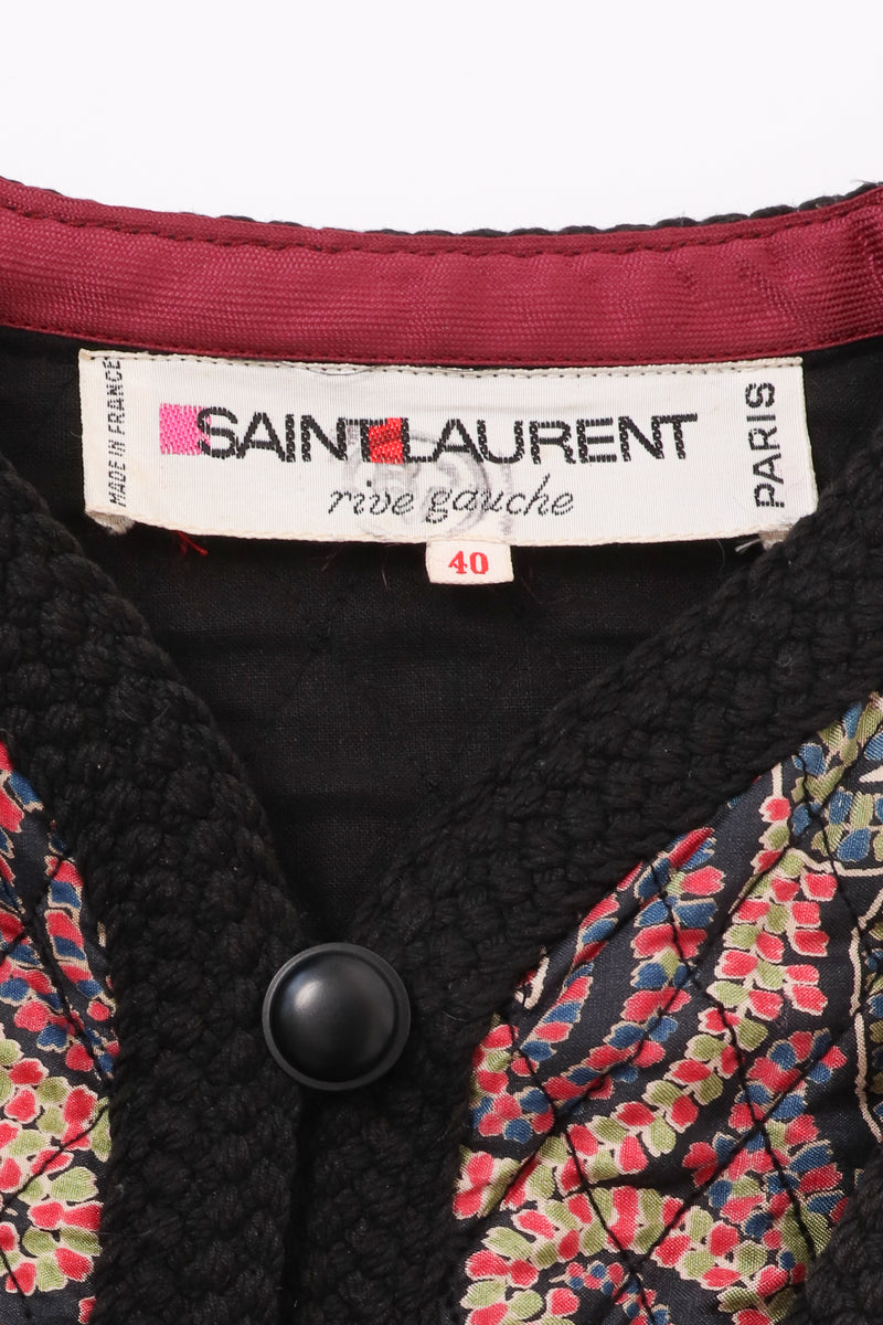 Vintage Yves Saint Laurent YSL Quilted Silk Flourish Jacket label at Recess Los Angeles