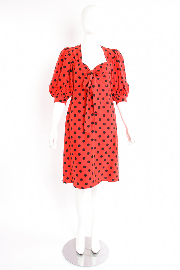 Vintage YSL Yves Saint Laurent Sweetheart Dot Dress on mannequin front at Recess Los Angeles