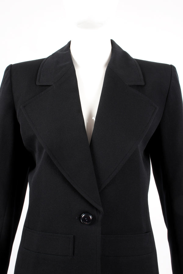 Vintage Yves Saint Laurent YSL Le Smoking Wide Lapel Blazer on Mannequin crop at Recess LA