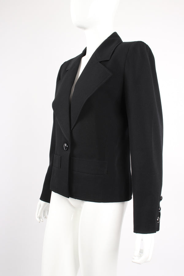 Vintage Yves Saint Laurent YSL Le Smoking Wide Lapel Blazer on Mannequin angle at Recess LA