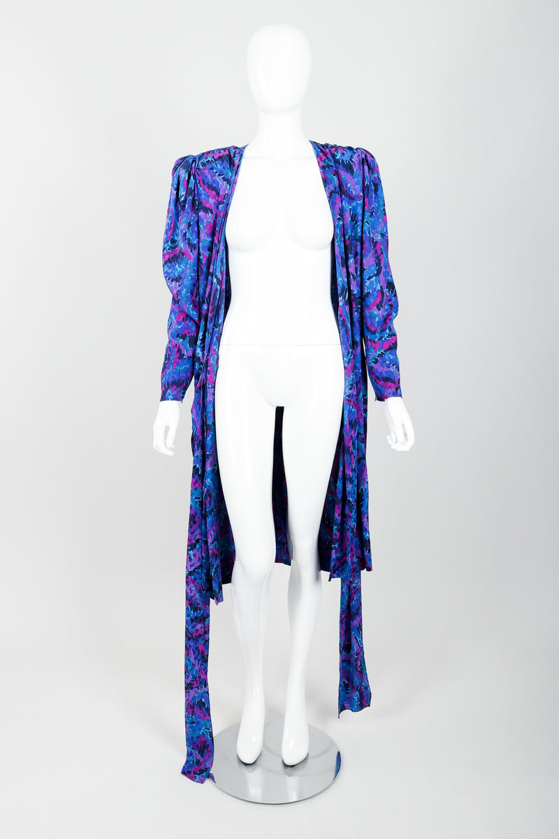 Vintage YSL Yves Saint Laurent Impressionist Wrap Dress on Mannequin Front Open at Recess