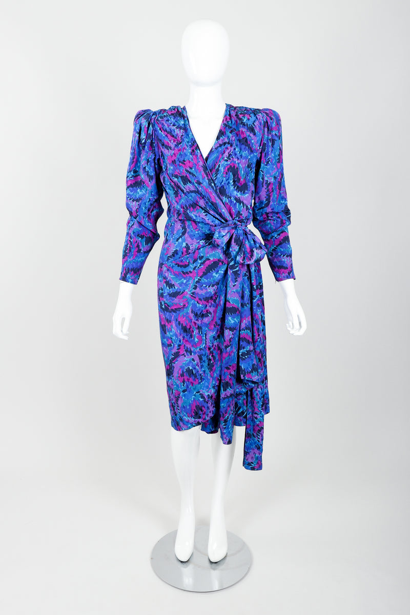 Vintage YSL Yves Saint Laurent Impressionist Wrap Dress on Mannequin Front at Recess