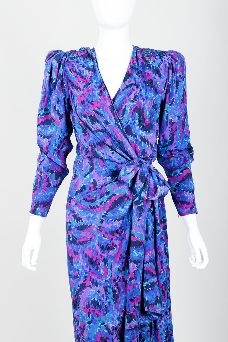 Vintage YSL Yves Saint Laurent Impressionist Wrap Dress on Mannequin Front Crop at Recess