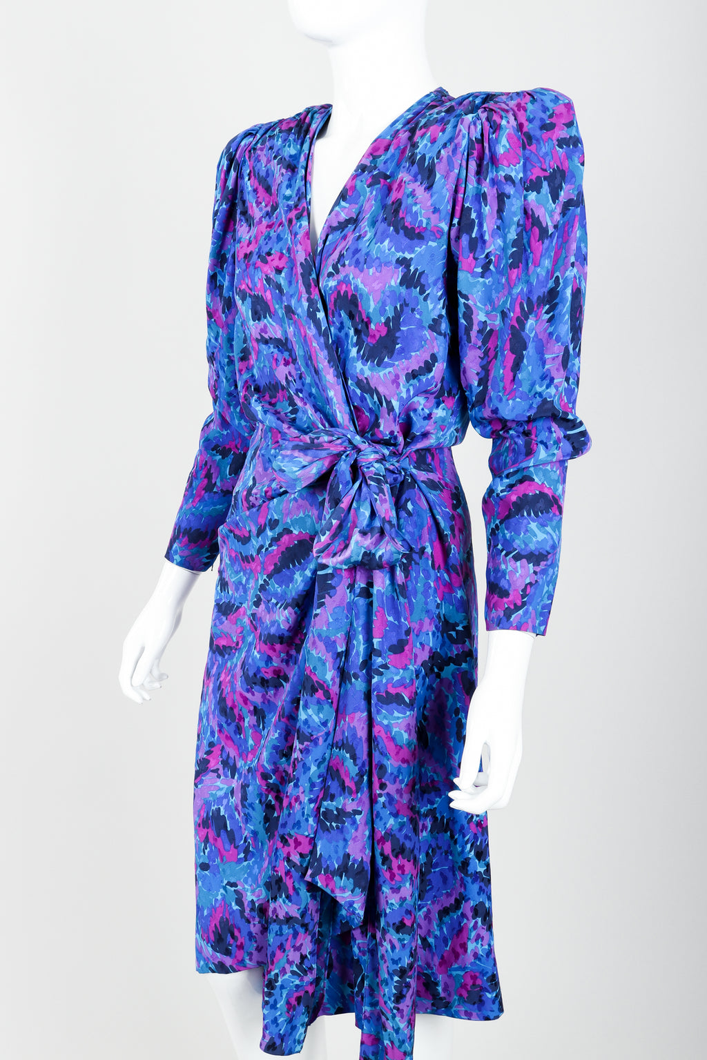 Vintage YSL Yves Saint Laurent Impressionist Wrap Dress on Mannequin Angle Crop at Recess