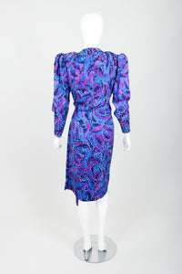 Vintage YSL Yves Saint Laurent Impressionist Wrap Dress on Mannequin Back at Recess