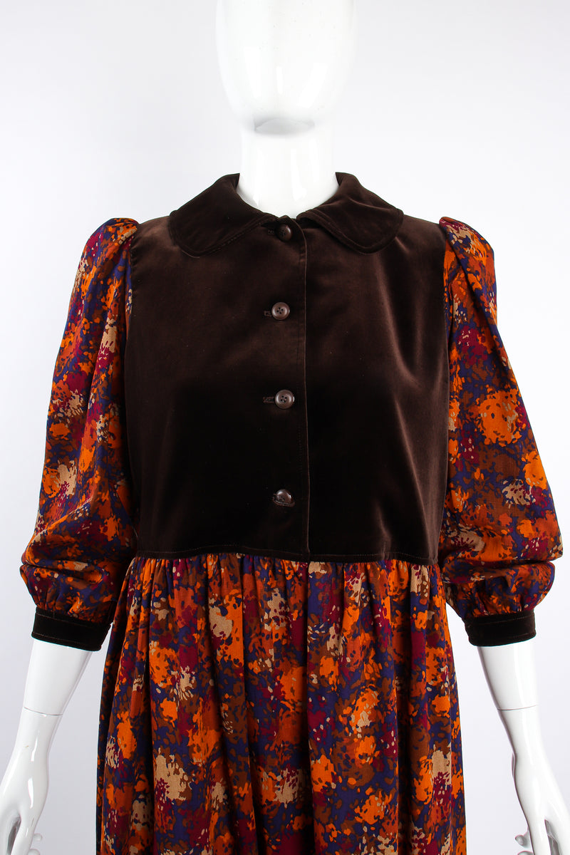 Vintage YSL Yves Saint Laurent Velvet Bodice Folk Dress Russian on Mannequin crop at Recess LA