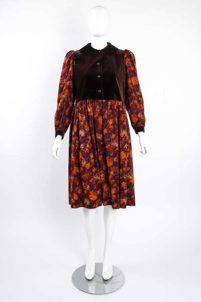 Vintage YSL Yves Saint Laurent Velvet Bodice Folk Dress Russian on Mannequin front at Recess LA