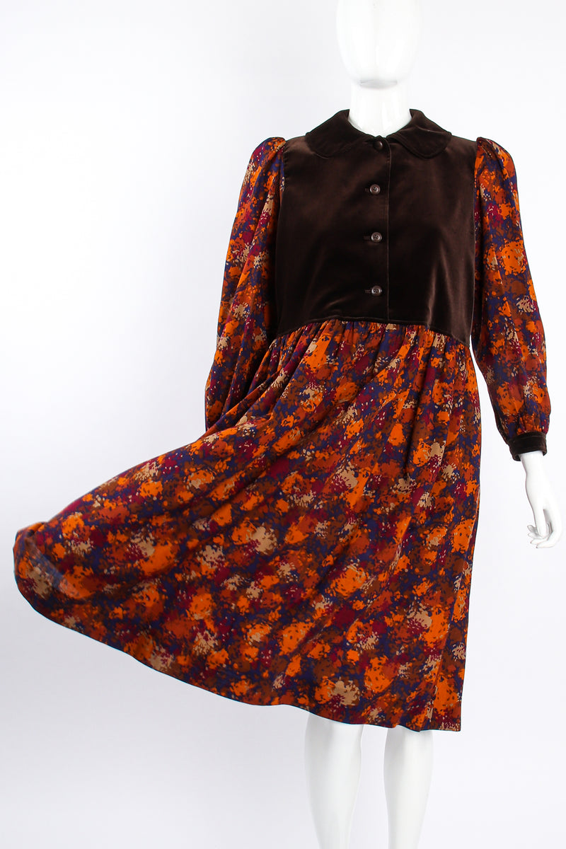 Vintage YSL Yves Saint Laurent Velvet Bodice Folk Dress Russian on Mannequin flow at Recess LA