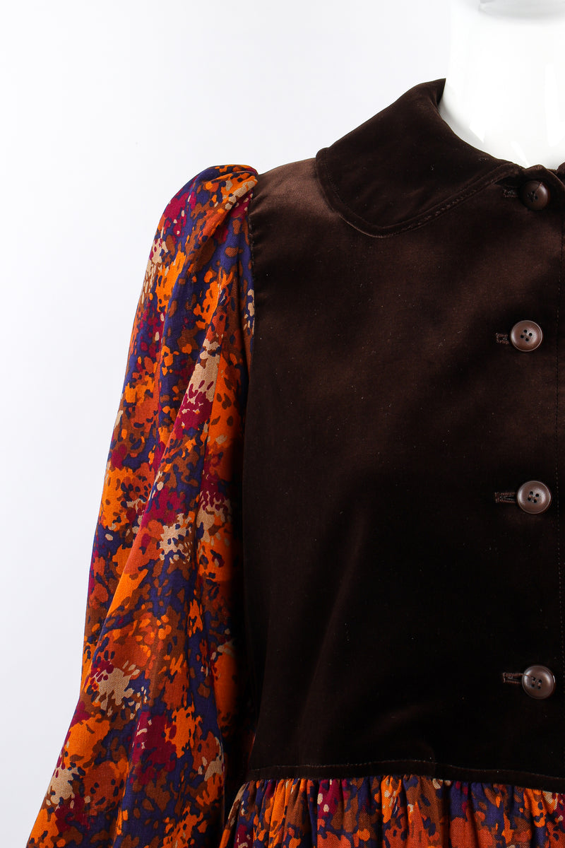 Vintage YSL Yves Saint Laurent Velvet Bodice Folk Dress Russian on Mannequin shoulder @ Recess LA