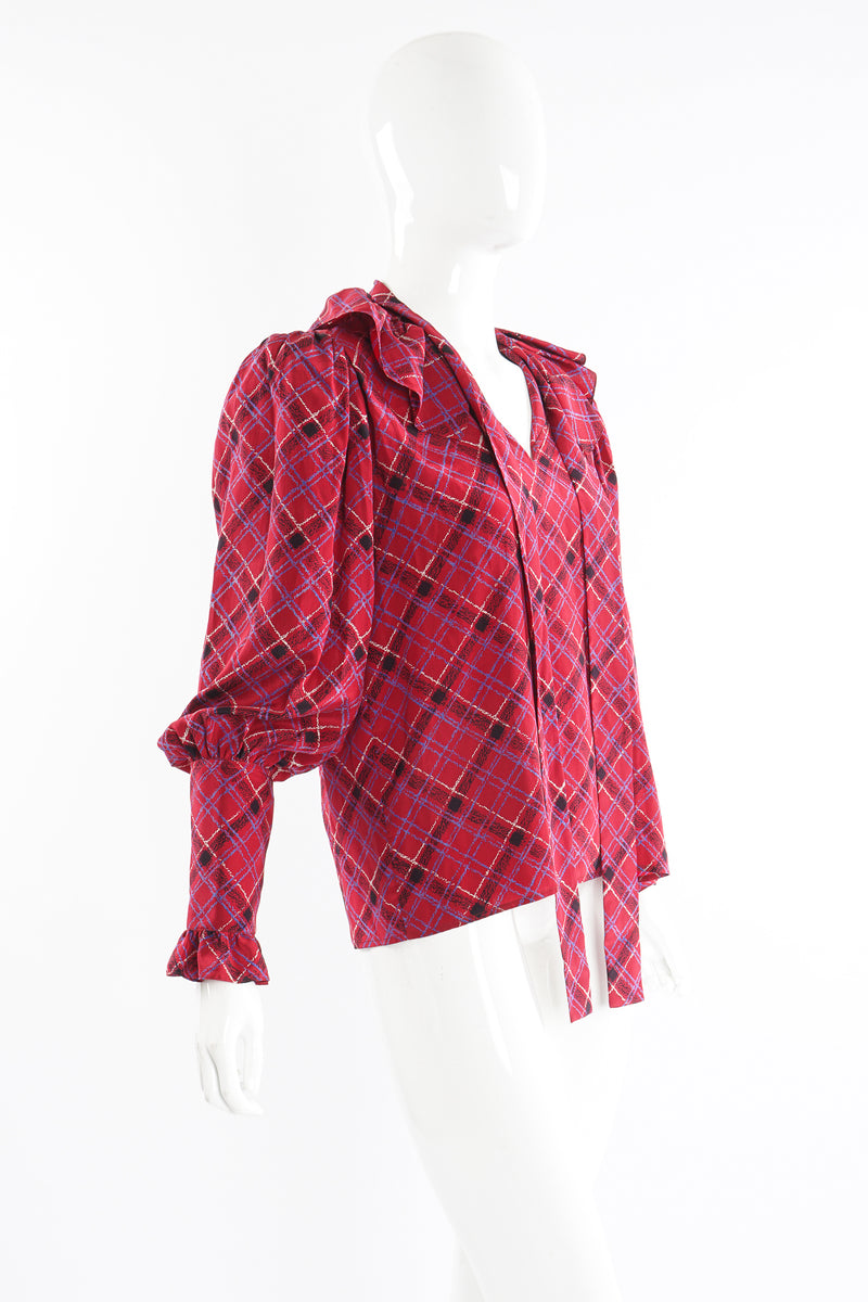 Vintage YSL Yves Saint Laurent Plaid Ruffle Bow Blouse on Mannequin side at Recess Los Angeles