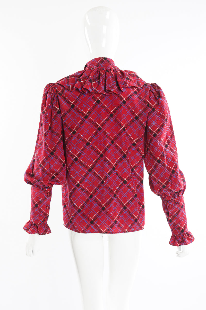 Vintage YSL Yves Saint Laurent Plaid Ruffle Bow Blouse on Mannequin back at Recess Los Angeles