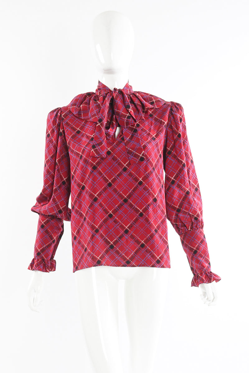 Vintage YSL Yves Saint Laurent Plaid Ruffle Bow Blouse on Mannequin front at Recess Los Angeles