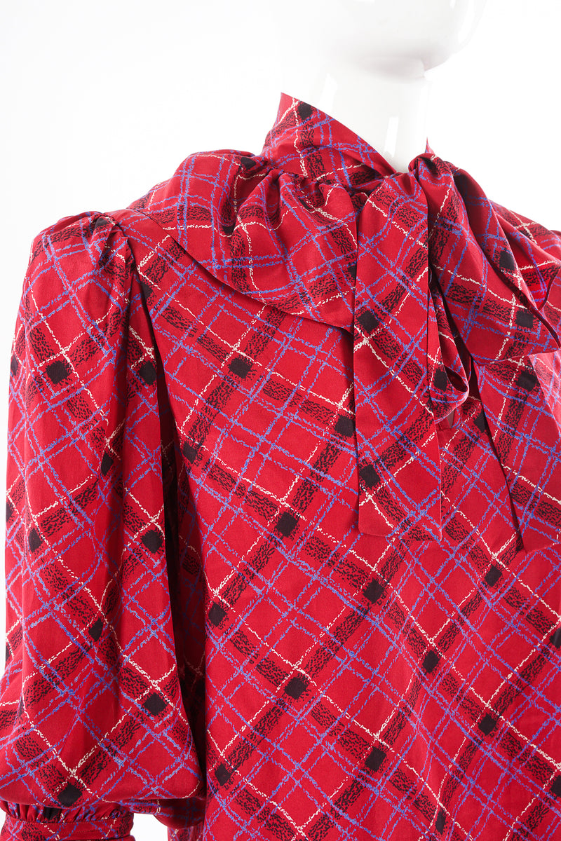 Vintage YSL Yves Saint Laurent Plaid Ruffle Bow Blouse on Mannequin crop at Recess Los Angeles