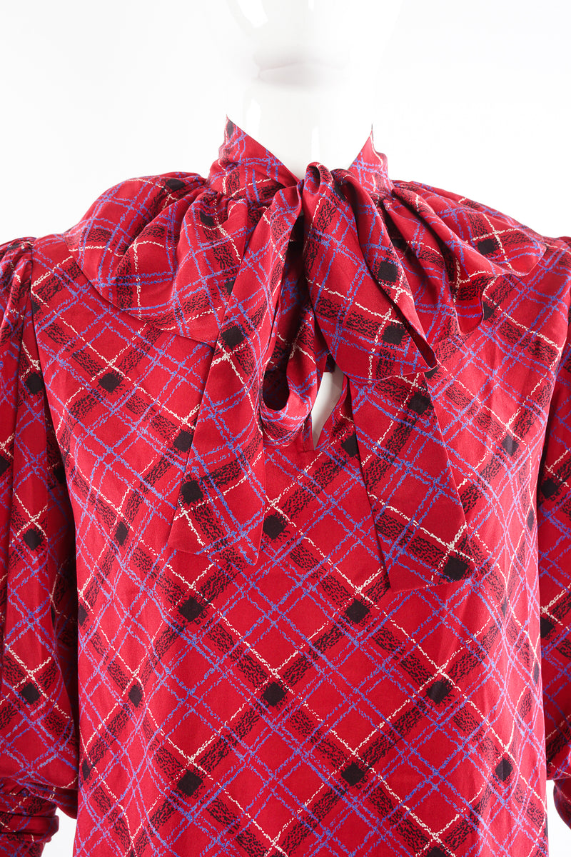 Vintage YSL Yves Saint Laurent Plaid Ruffle Bow Blouse on Mannequin neck at Recess Los Angeles