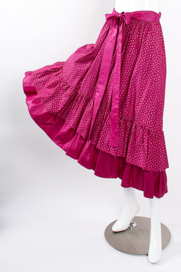 Vintage YSL Yves Saint Laurent Tiered Ruffle Hem Lamé Dot Skirt on Mannequin sweep at Recess LA
