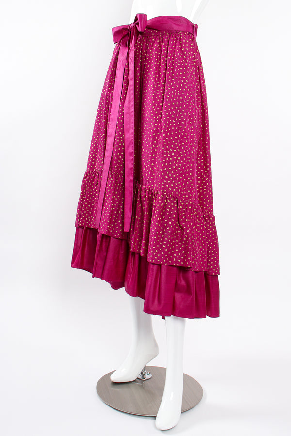 Vintage YSL Yves Saint Laurent Tiered Ruffle Hem Lamé Dot Skirt on Mannequin angle at Recess LA