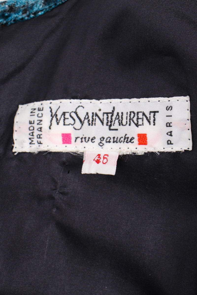 Vintage YSL Yves Saint Laurent Velvet Cosmic Paisley Gown label at Recess LA