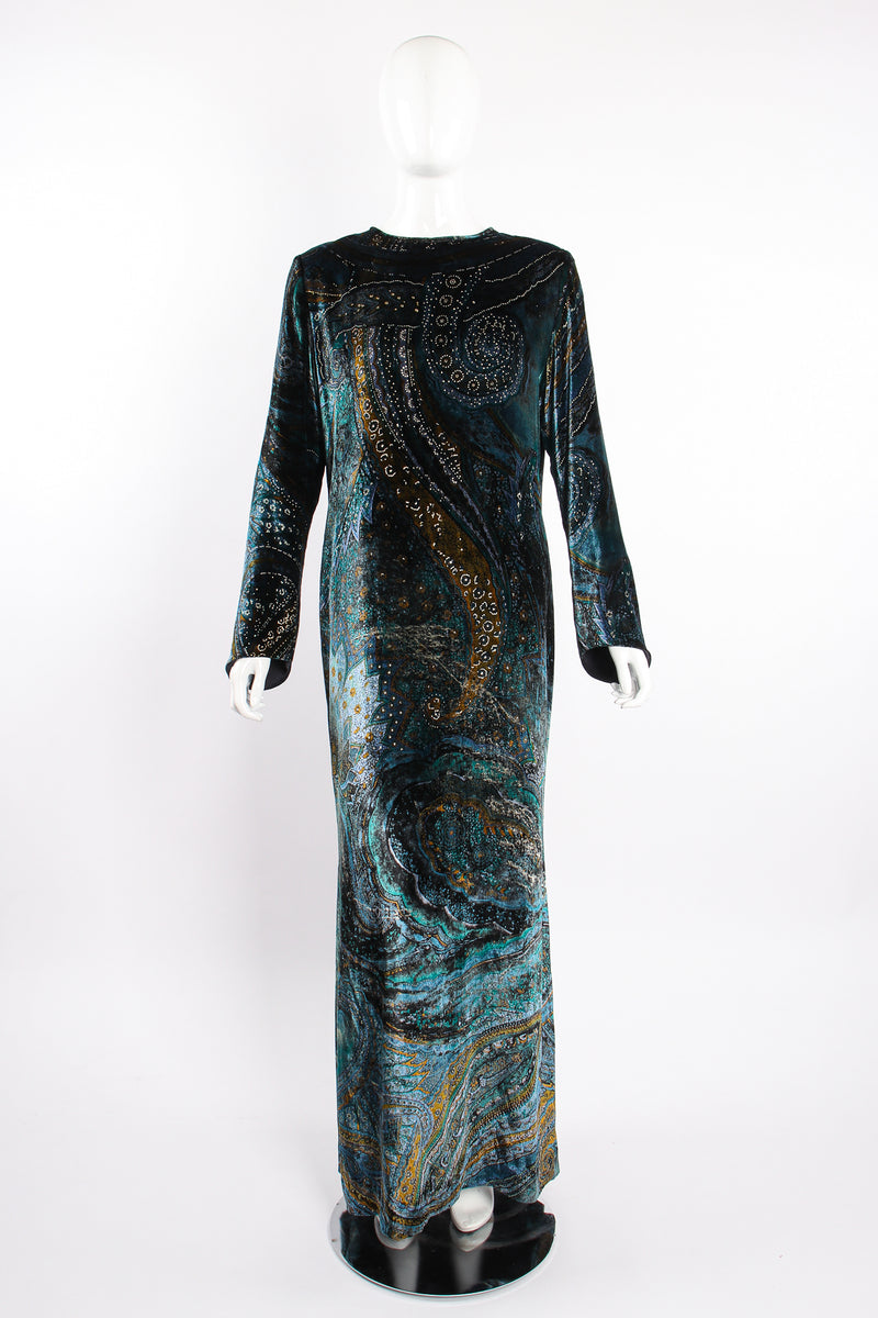 Vintage YSL Yves Saint Laurent Velvet Cosmic Paisley Gown II on Mannequin front at Recess LA