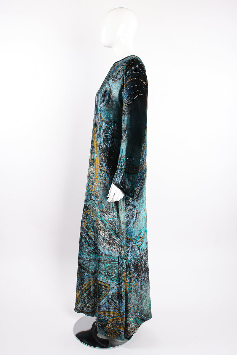 Vintage YSL Yves Saint Laurent Velvet Cosmic Paisley Gown II on Mannequin side at Recess LA