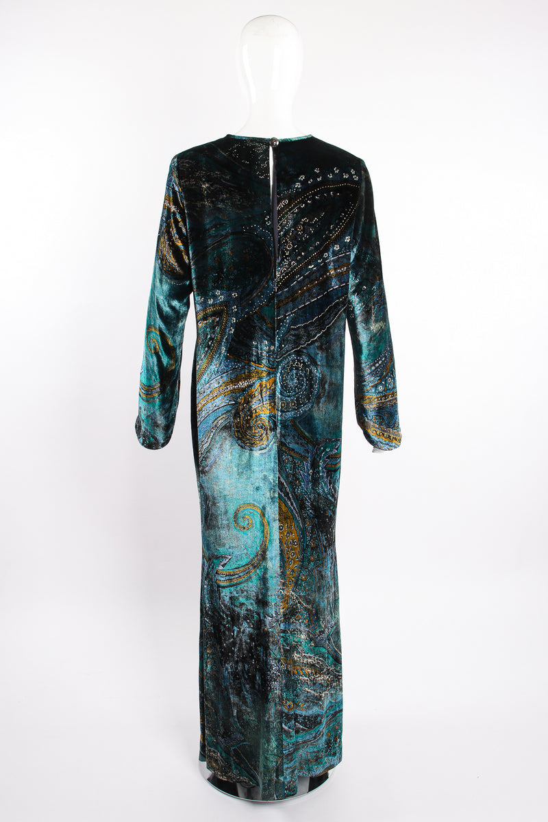 Vintage YSL Yves Saint Laurent Velvet Cosmic Paisley Gown II on Mannequin back at Recess LA