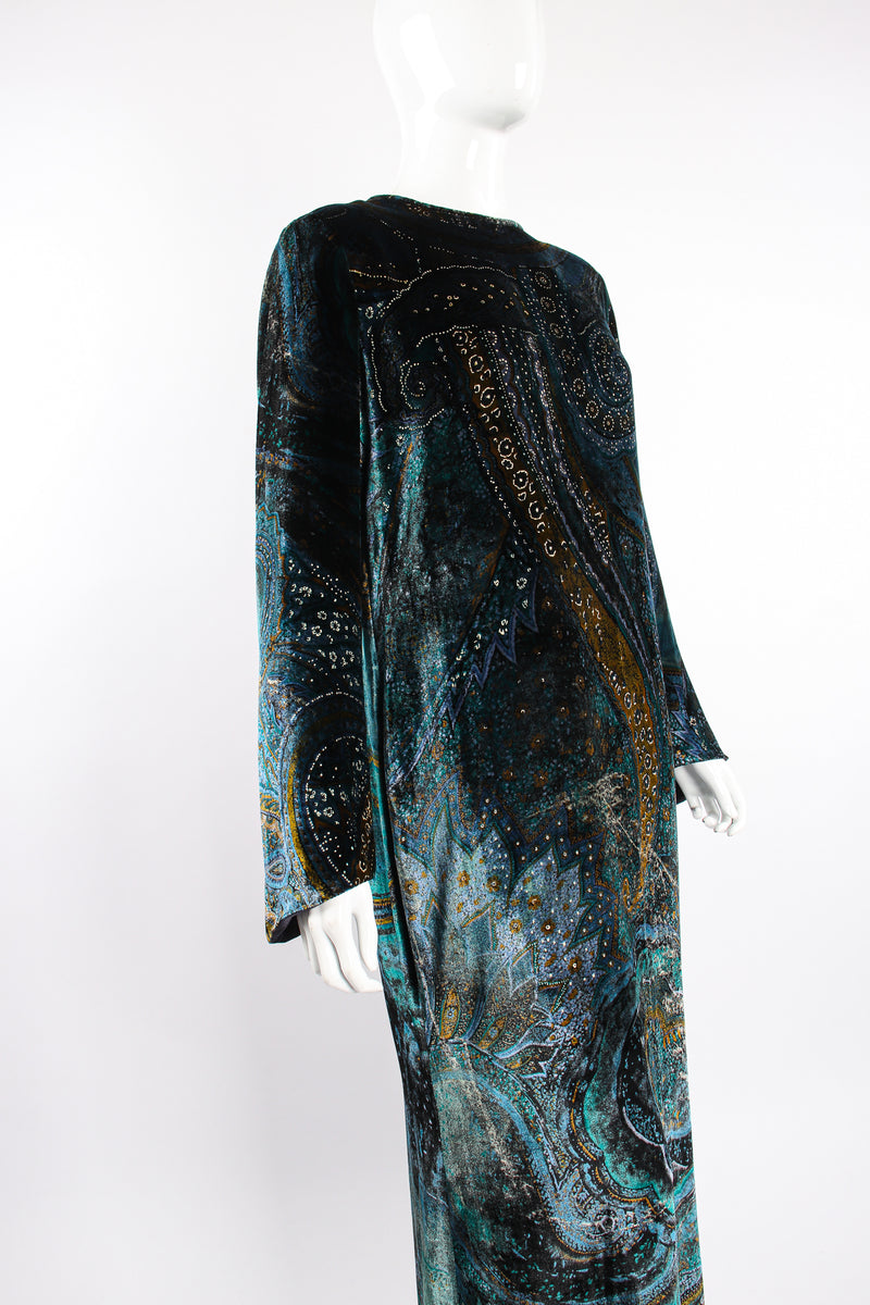 Vintage YSL Yves Saint Laurent Velvet Cosmic Paisley Gown II on Mannequin crop at Recess LA