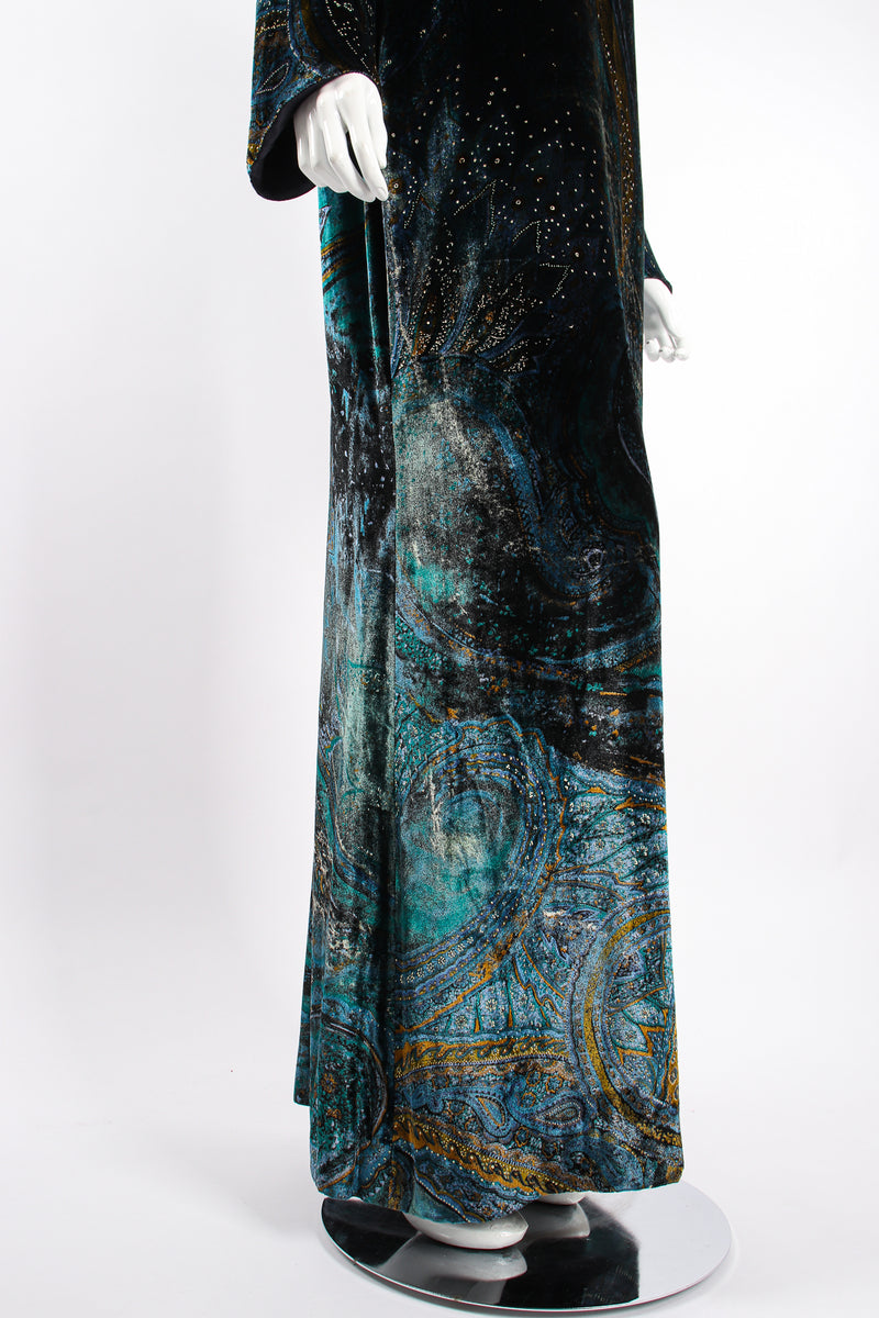 Vintage YSL Yves Saint Laurent Velvet Cosmic Paisley Gown II on Mannequin skirt at Recess LA