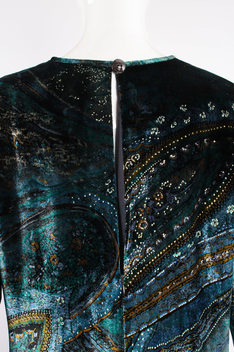 Vintage YSL Yves Saint Laurent Velvet Cosmic Paisley Gown II on Mannequin back neck at Recess LA
