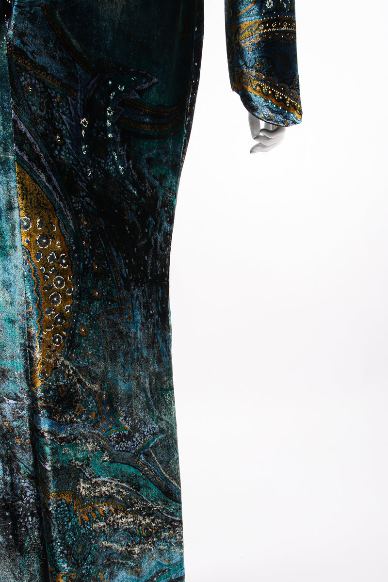 Vintage YSL Yves Saint Laurent Velvet Cosmic Paisley Gown II on Mannequin silhouette at Recess LA