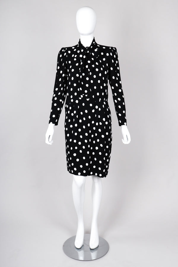 Recess Los Angeles Vintage Saint Laurent Black White Polka Dotted Long Sleeve Dress