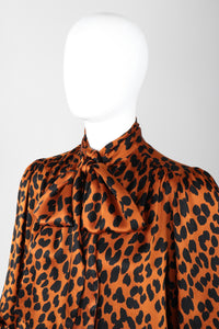 Recess Los Angeles Vintage Yves Saint Laurent Silk Animal Leopard Blouson Sleeves Button Cuff Long Neck Tie