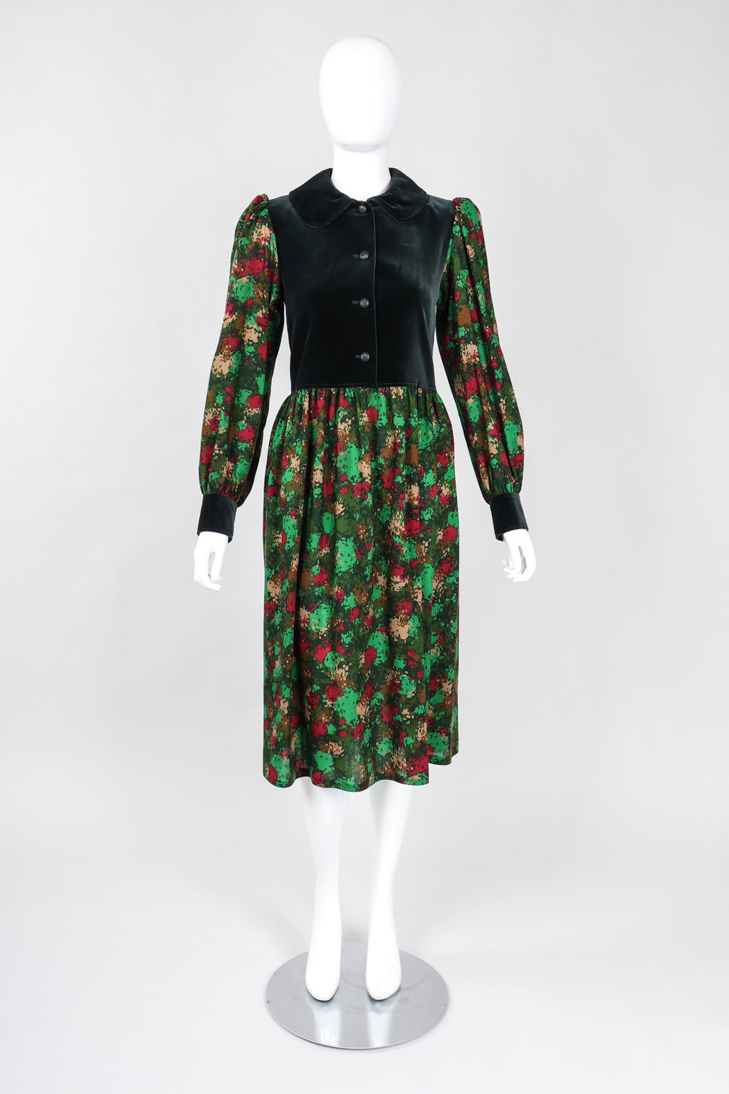 Recess Los Angeles Vintage YSL Yves Saint Laurent Russian Collection Velvet Bodice Camo Print Peter Pan Collar Folk Dress