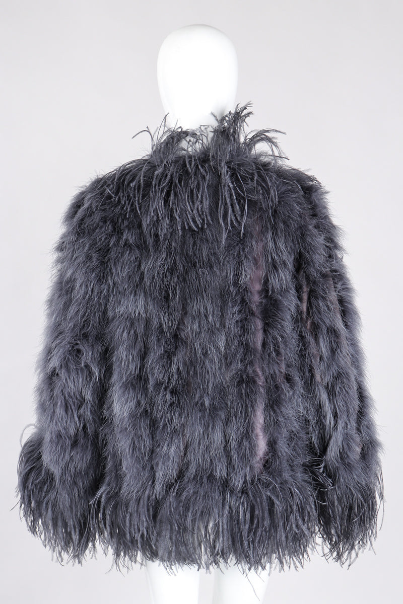Recess Los Angeles Vintage YSL Yves Saint Laurent 70s Marabou & Ostrich Feather Glam Rockstar Jacket
