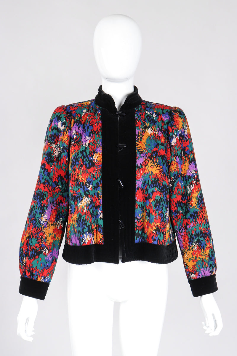 Recess Los Angeles Vintage YSL Yves Saint Laurent Russian Collection Quilted Rainbow Splatter Print Folk Jacket